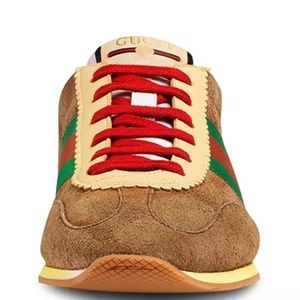 NEW $750 Gucci Leather & Suede Low-Top Sneaker 37